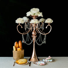 "27"" Rose Gold Metal 5 Arm Candelabra Candle Holder With Hanging Crystal Drops"