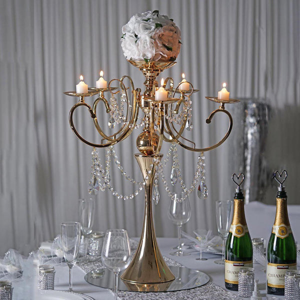 "27"" Gold Metal 5 Arm Candelabra Candle Holder With Hanging Crystal Drops"