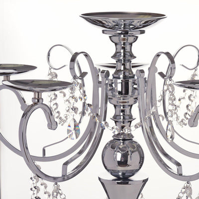 "27.5"" Tall Silver Metal Candelabra Chandelier Votive Candle Holder Wedding Centerpiece - With Acrylic Chains and Big TearDrops"