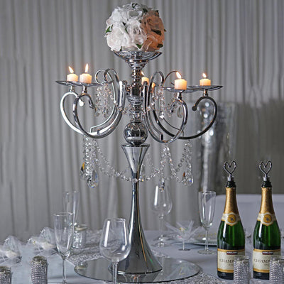 "27.5"" Silver Metal 5 Arm Candelabra Chandelier Votive Candle Holder Centerpiece With Crystal Chains and Big TearDrops"