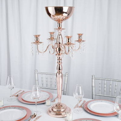 "33"" Tall Rose Gold 4 Arm Metal Candelabra Votive Candle Holder"