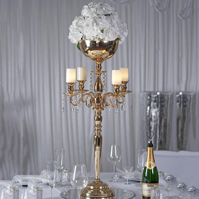 "33"" Tall Gold 4 Arm Metal Candelabra Votive Candle Holder"