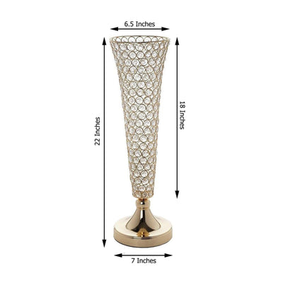 2 Pack 2 FT Tall Gold Beaded Crystals Trumpet Vase