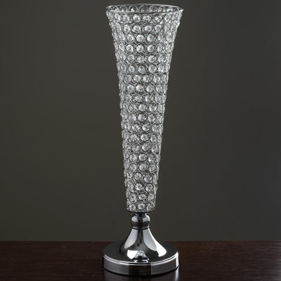 "2 Pack 21"" Tall Silver Beaded Crystals Trumpet Vase"
