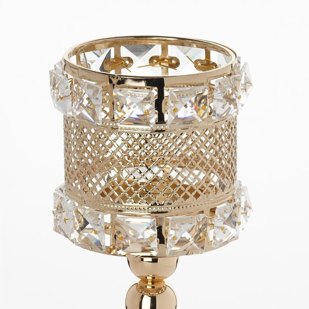 Crystal beaded gold votive candle holder wedding chandelier crystal beaded gold votive candle holder wedding chandelier centerpiece set of 3pcs arubaitofo Gallery