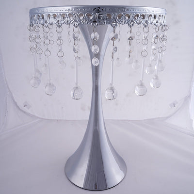 "11"" Round Silver Metallic Trumpet Cake Riser Stand 17"" Tall"