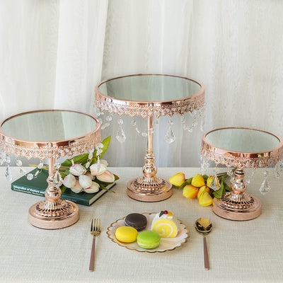 Set of 3 | Blush | Rose Gold Round Metal Cake Stand With Mirror Top