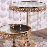 Set of 3 | Gold Round Metal Cake Stand With Mirror Top