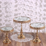 Set of 3 Round Mirror Top Gold Cup Cake Riser Centerpiece Stand