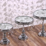 Set of 3 Silver Round Metallic Modern Cup Cake Riser Centerpiece Stand with Hanging Acrylic Crystal Chains