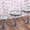 Set of 3 | Silver Round Metal Cake Stand With Mirror Top