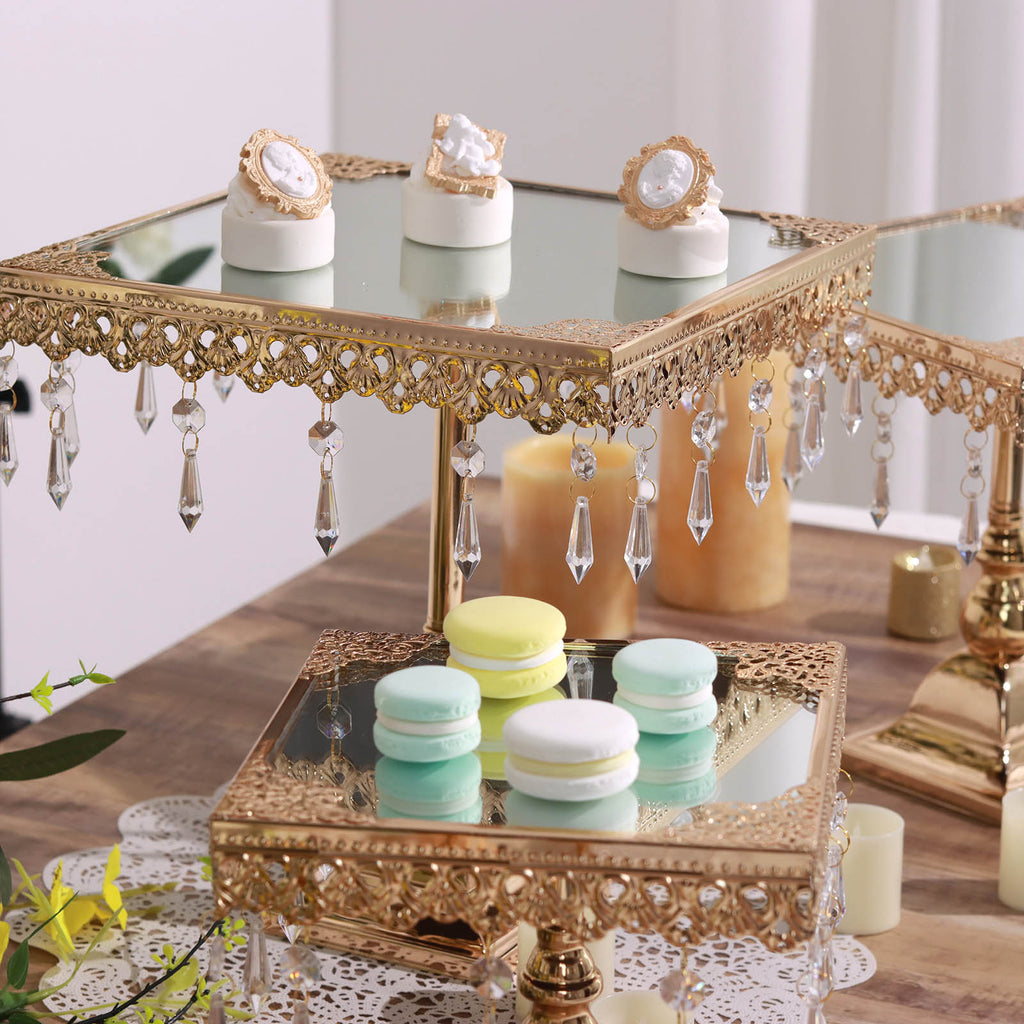 Set of square mirror top gold cup cake riser centerpiece