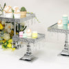 Set of 3 | Silver Square Metal Cake Stand With Mirror Top