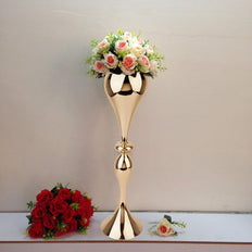 25 inch Gold Metal Floral Riser Trumpet Tall Metallic Vases Wholesale