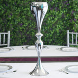 "25"" Silver Floral Trumpet Vase Riser Tall Metallic Vases Wholesale"
