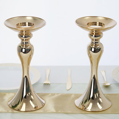 "2 Pack | 12"" Tall Gold Floral Stand Pillar Candle Holder"