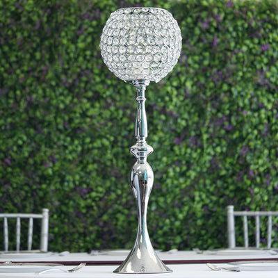"30"" Silver Acrylic Crystal Goblet Candle Holder Flower Ball Stand"