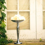 "17"" Flared Top Silver Metal Flower Ball Stand Candle Holder"