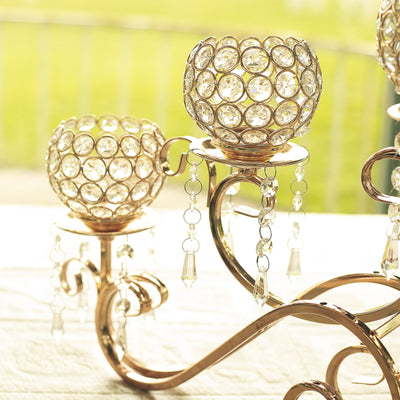 5 Arm 27 inch Crystal Gold Metal Horizontal Table Standing Candelabra Candle Holder Set