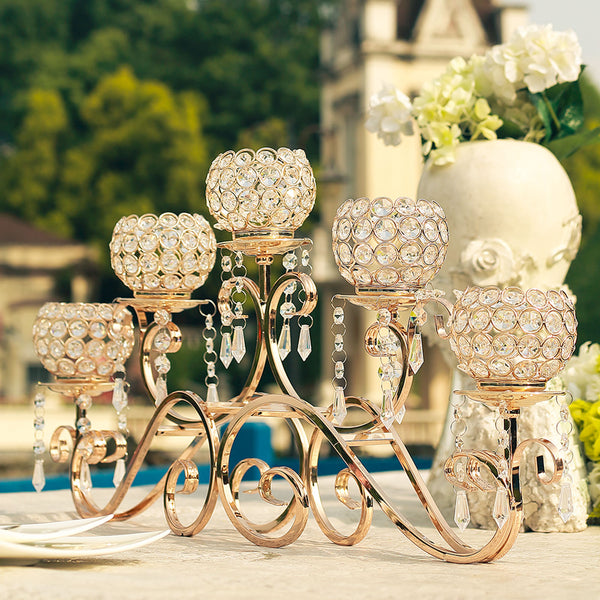 "5 Arm 27"" Crystal Gold Metal Horizontal Table Standing Candelabra Candle Holder Set"