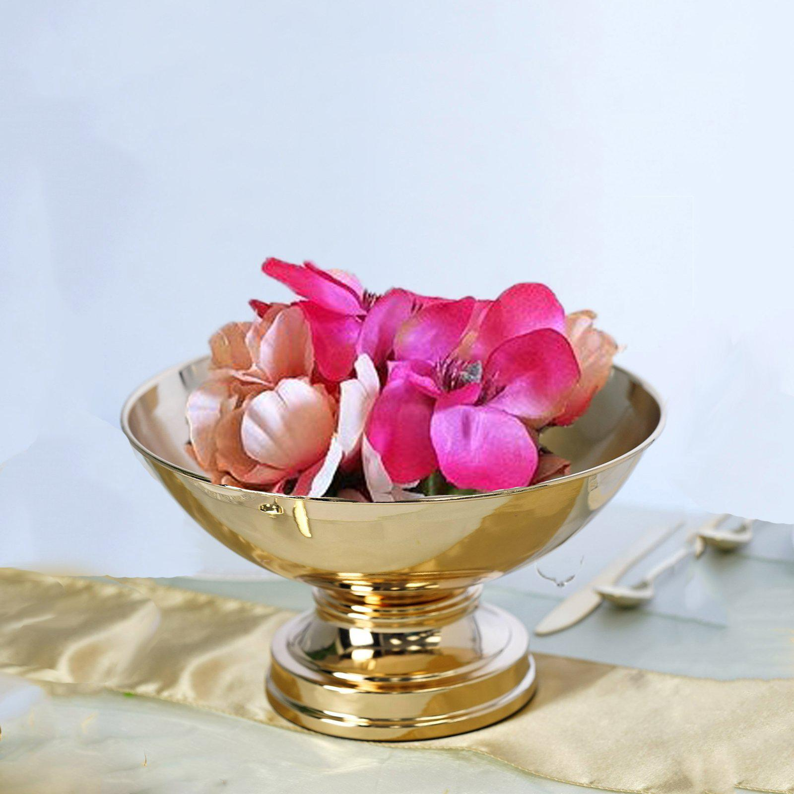 12 Metallic Gold Floating Candle Pedestal Bowl Flower Pot