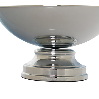 "12"" Round Metallic Silver Floating Candle Pedestal Bowl Flower Pot 7"" Tall"