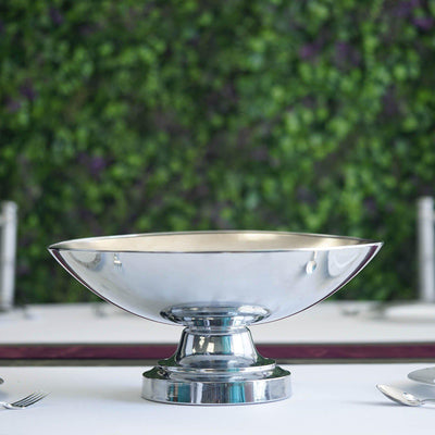 "15"" Round Metallic Silver Floating Candle Pedestal Bowl Flower Pot 7"" Tall"