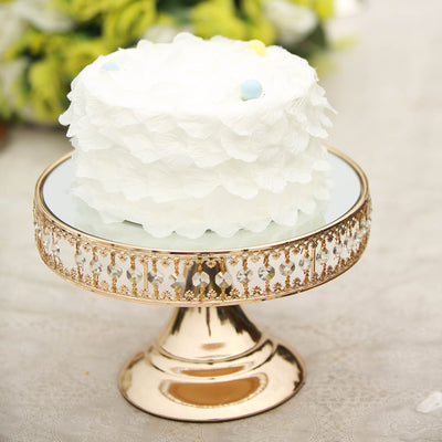 "8"" Gold Sparkling 65 Crystal Beaded Cake Stand with Mirrored Top"
