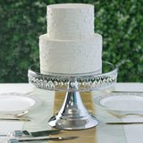 "8"" Silver Sparkling 65 Crystal Beaded Cake Stand with Mirrored Top"