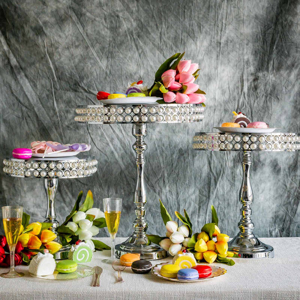 Set of 3 Silver Pearl Embellished Wedding Cake Stand
