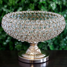 "9"" Gold Acrylic 300 Crystal Beaded Bowl Pedestal Vase"