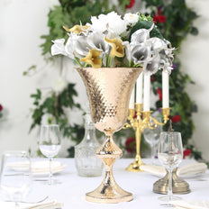 "16"" Gold Hammered Style Metal Trumpet Vase Centerpiece"