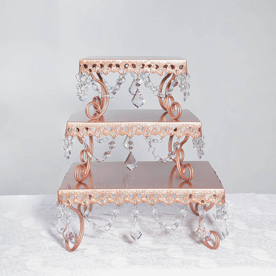Rose Gold Chandelier Cake Stand, Square Cake Stand, Dessert Display with Cyrstal Pendants