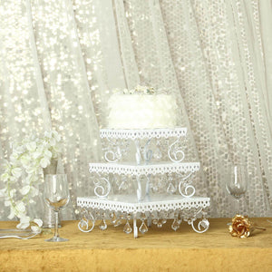 White Chandelier Metal Cake Stands | Square Cupcake Stands | Dessert Display With Crystal Pendants