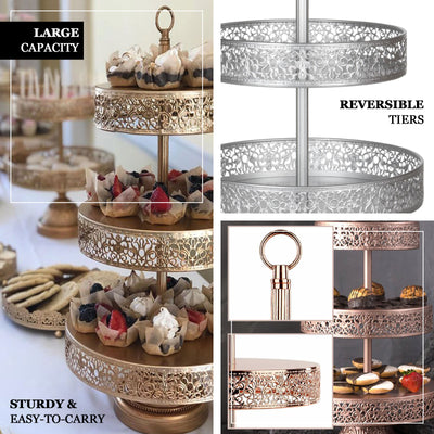 "23"" White Metal Reversible Tiered Cupcake Stand 