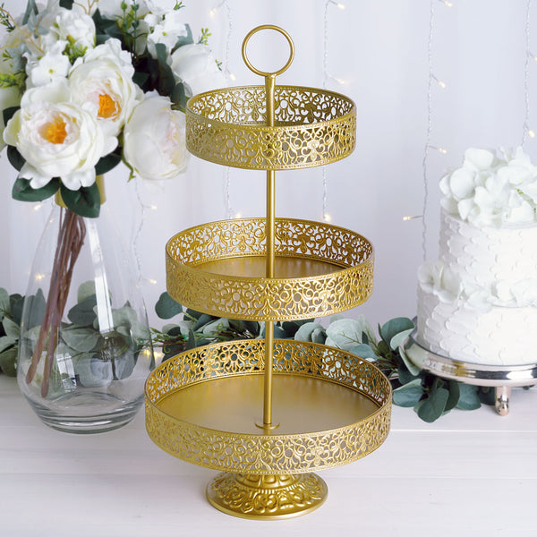 "23"" Gold Metal Reversible Tiered Cupcake Stand 