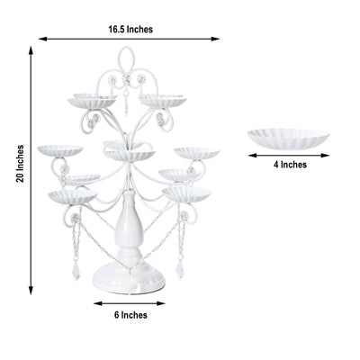 "20"" Metal White Cupcake Stand, 12 Piece Crystal Draped Cupcake Holder"