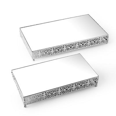 Set of 2 | Fleur De Lis Rectangle Metal Cake Stand Silver Cake Riser with Mirror Top