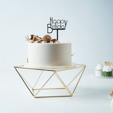 10inch Square Gold Metal Geometric Cake Stand Gold Cake Riser with Glass Top
