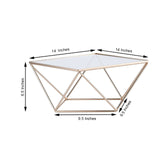 "14"" Gold Metal Geometric Cake Stand Gold Cake Riser with Square Glass Top"