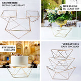 14inch Gold Metal Geometric Cake Stand Gold Cake Riser with Square Glass Top
