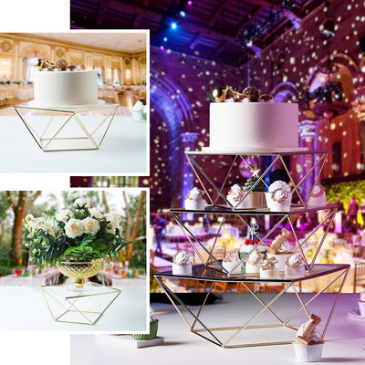 10 inch Gold Metal Geometric Cake Stand Gold Cake Riser with Square Glass Top