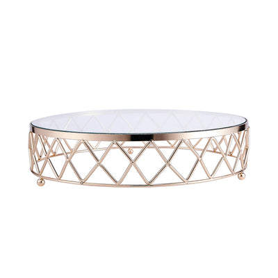 14inch Round Metal Geometric Cake Stand Gold Cake Riser with Glass Top