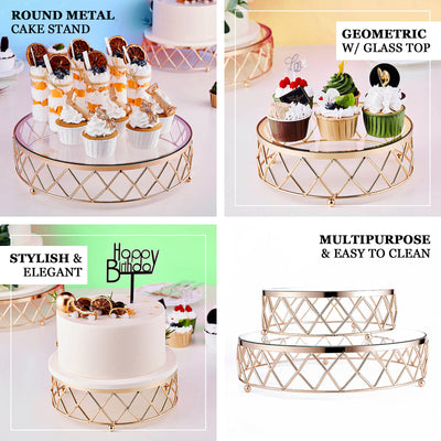 "14"" Round Metal Geometric Cake Stand Gold Cake Riser with Glass Top"