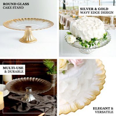"12"" Round Pedestal Glass Cake Stand with Silver Wavy Edge, Cupcake Holder Dessert Display"
