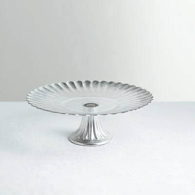 12 inch Round Pedestal Glass Cake Stand with Silver Wavy Edge, Cupcake Holder Dessert Display
