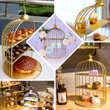 22 inch | 3-Tier Hanging Gold Metal Bird Cage Cupcake Stand, Dessert Display Stand