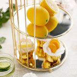 3-Tier Crystal Mirror Top Gold Metal Bird Cage Cupcake Cake Stand, Dessert Display Stand