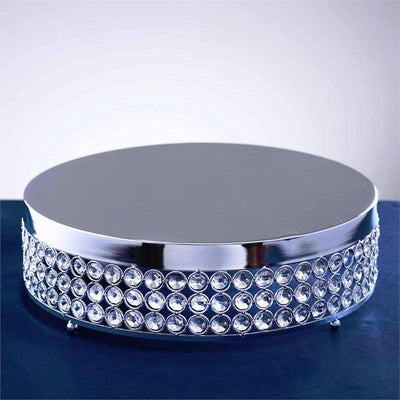 "13"" Silver Crystal Beaded Metal Riser Cake Stand"