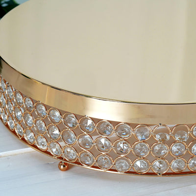 "Grand Wedding Beaded Crystal Metal Cake Stand - 15.5"" Diameter - Gold"